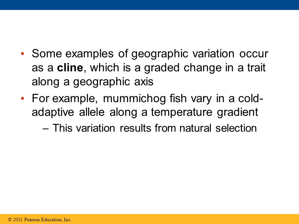 Some examples of geographic variation occur as a cline, which is a graded change in a trait along a geographic axis