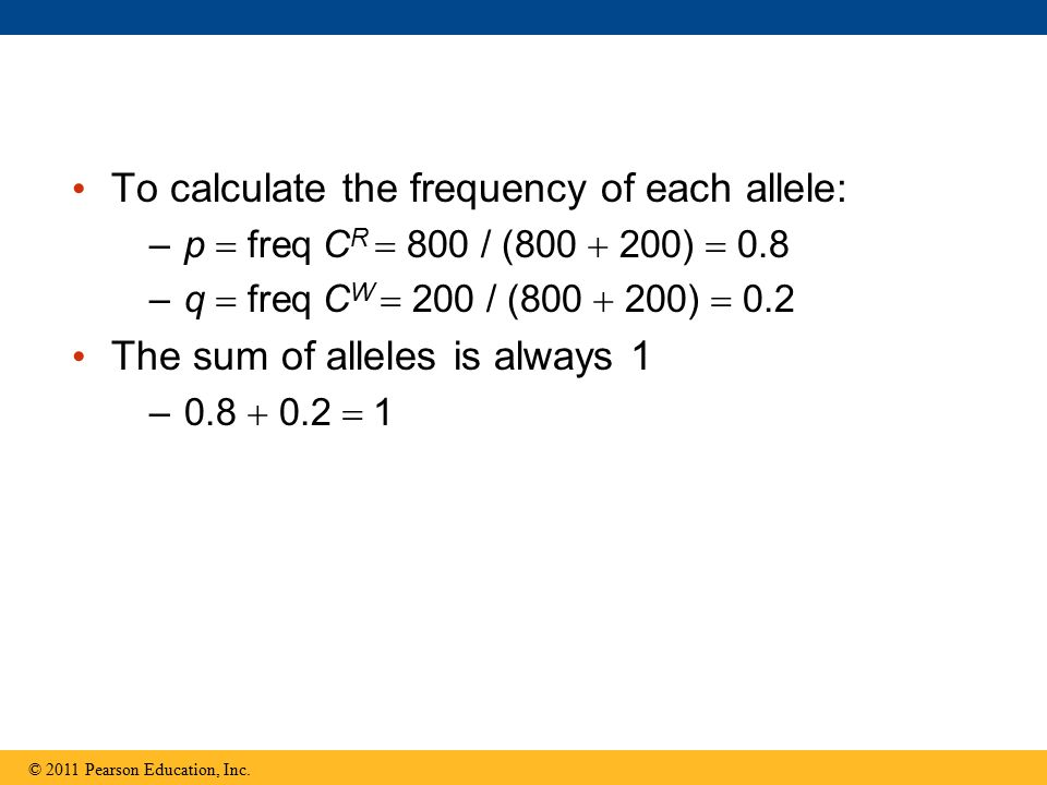 To calculate the frequency of each allele: