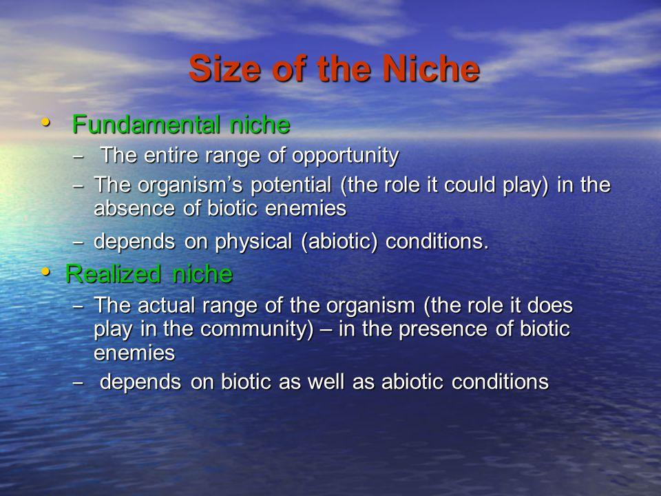 Size of the Niche Fundamental niche Realized niche