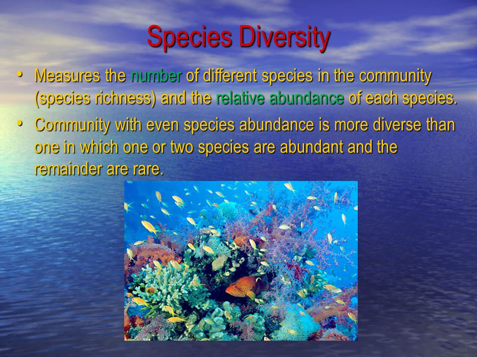 Species Diversity Measures the number of different species in the community (species richness) and the relative abundance of each species.