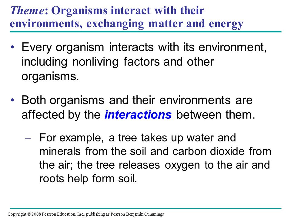 Theme: Organisms interact with their environments, exchanging matter and energy