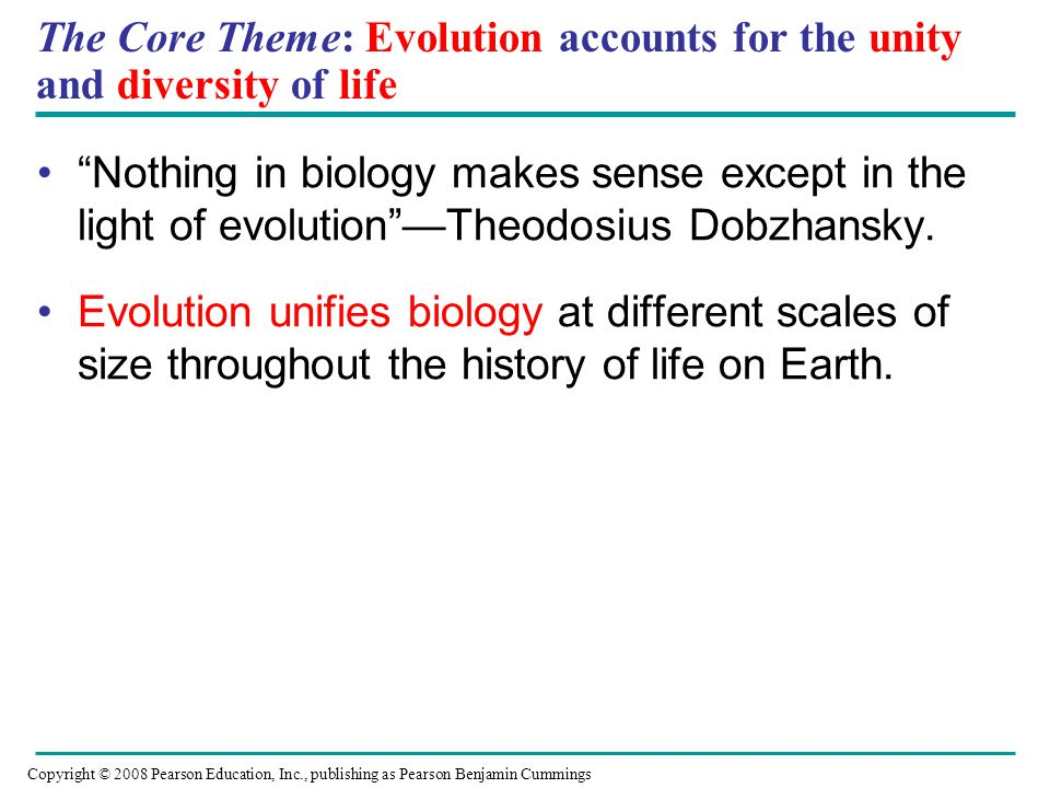 The Core Theme: Evolution accounts for the unity and diversity of life