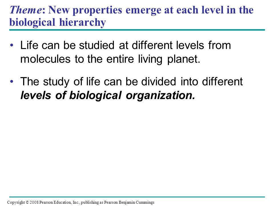 Theme: New properties emerge at each level in the biological hierarchy