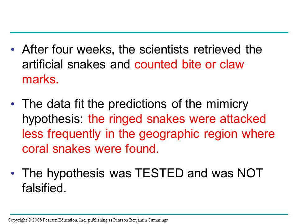 The hypothesis was TESTED and was NOT falsified.