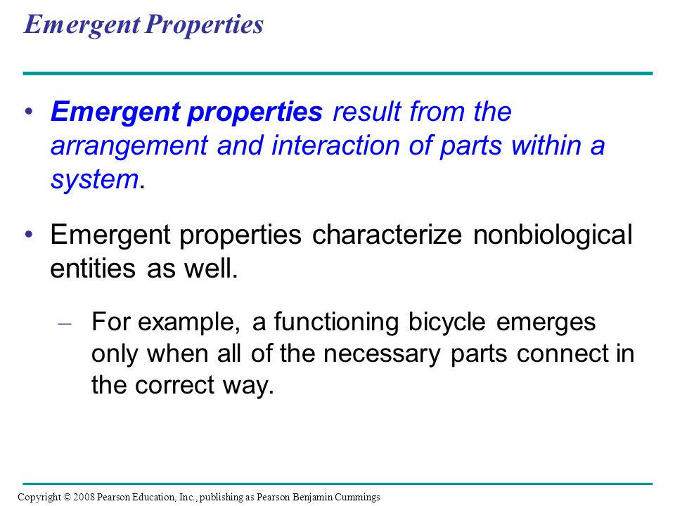 Emergent properties characterize nonbiological entities as well.