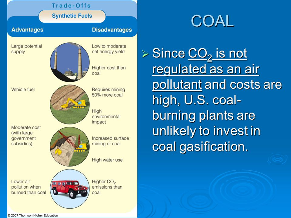 COAL Since CO2 is not regulated as an air pollutant and costs are high, U.S.