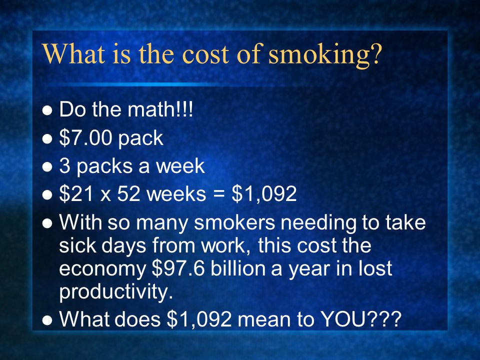 What is the cost of smoking