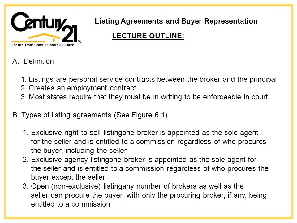Listing Agreements And Buyer Representation - Ppt Download