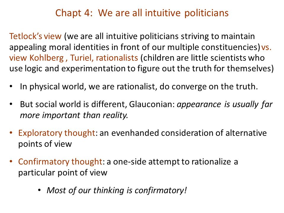 Chapt 4: We are all intuitive politicians