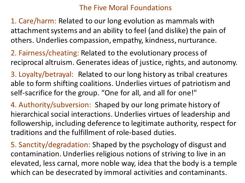 The Five Moral Foundations