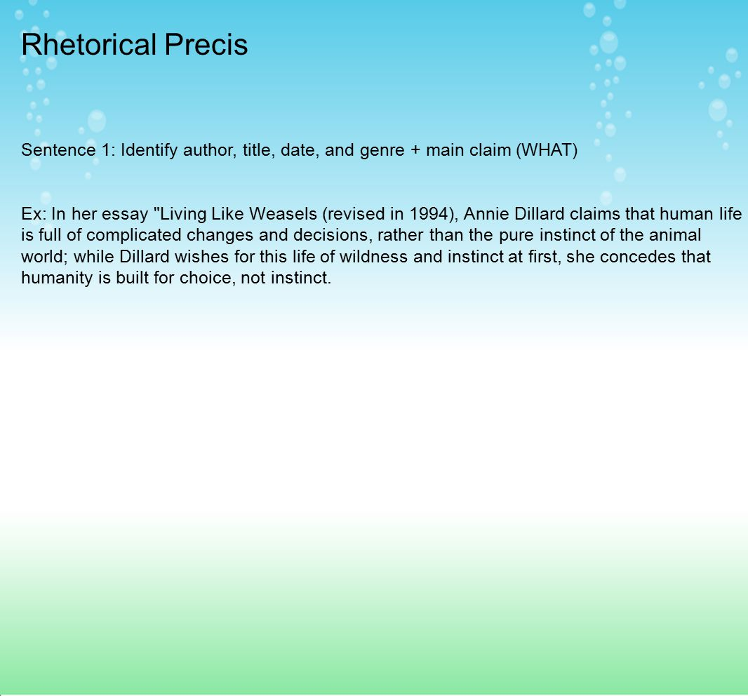 Rhetorical Precis Sentence 1: Identify author, title, date, and genre + main claim (WHAT)