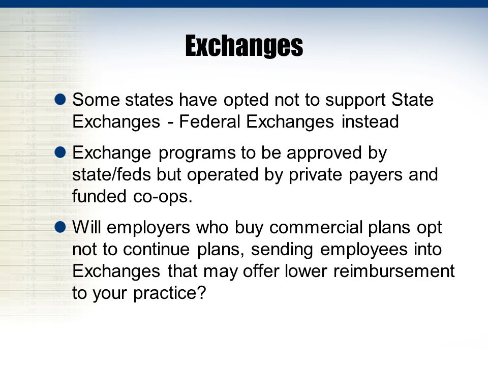 Exchanges Some states have opted not to support State Exchanges - Federal Exchanges instead.