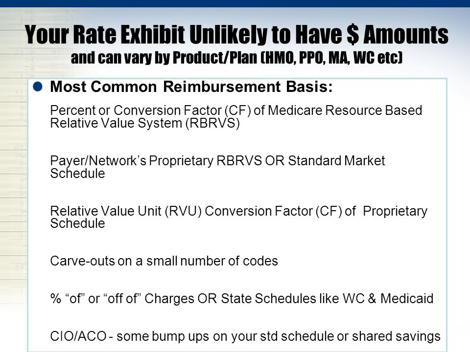 Your Rate Exhibit Unlikely to Have $ Amounts and can vary by Product/Plan (HMO, PPO, MA, WC etc)