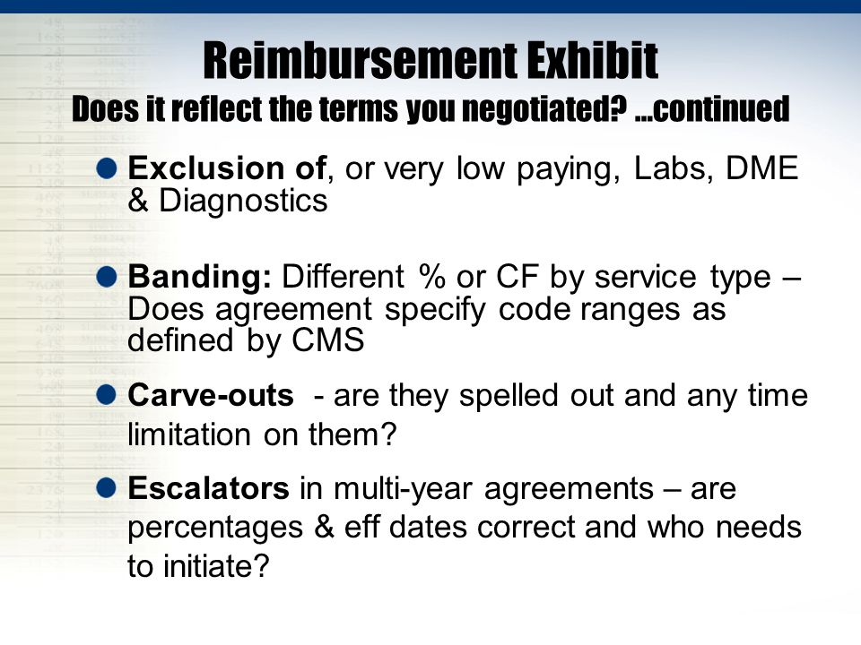 Reimbursement Exhibit Does it reflect the terms you negotiated