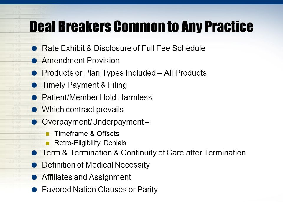 Deal Breakers Common to Any Practice