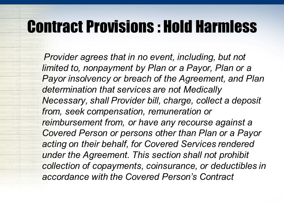 Contract Provisions : Hold Harmless