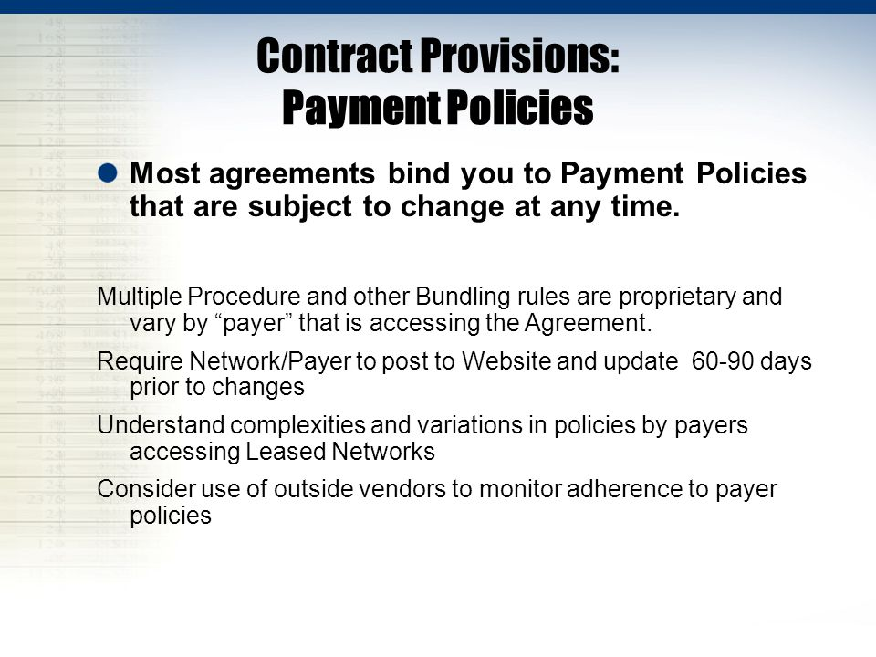 Contract Provisions: Payment Policies