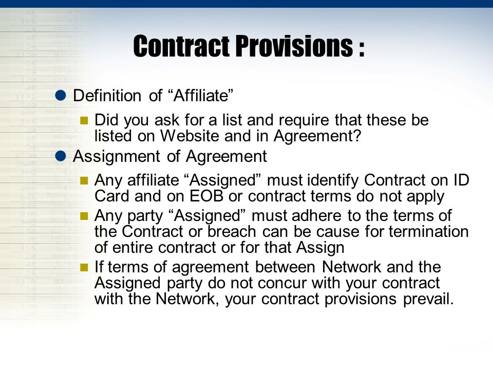 Contract Provisions : Definition of Affiliate