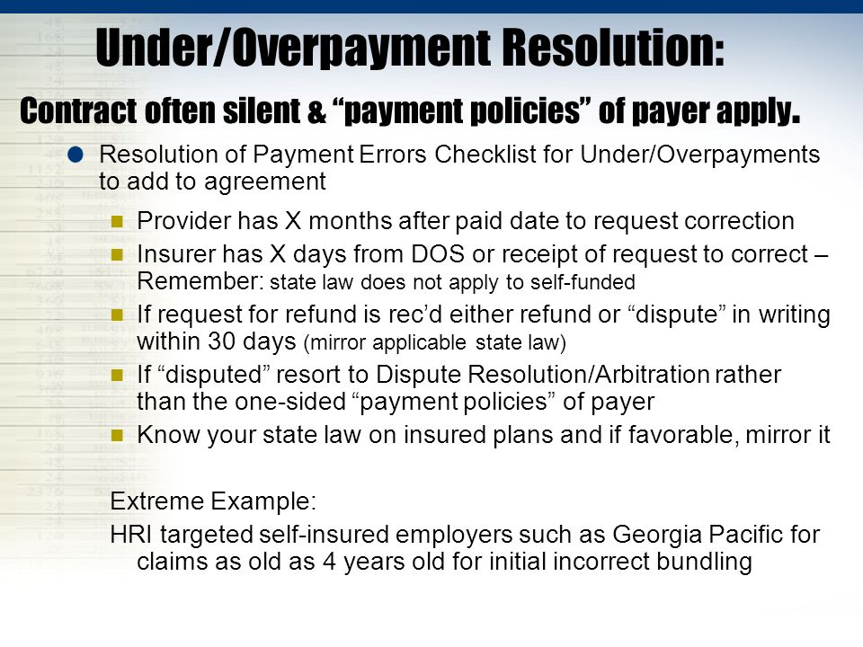 Under/Overpayment Resolution: Contract often silent & payment policies of payer apply.