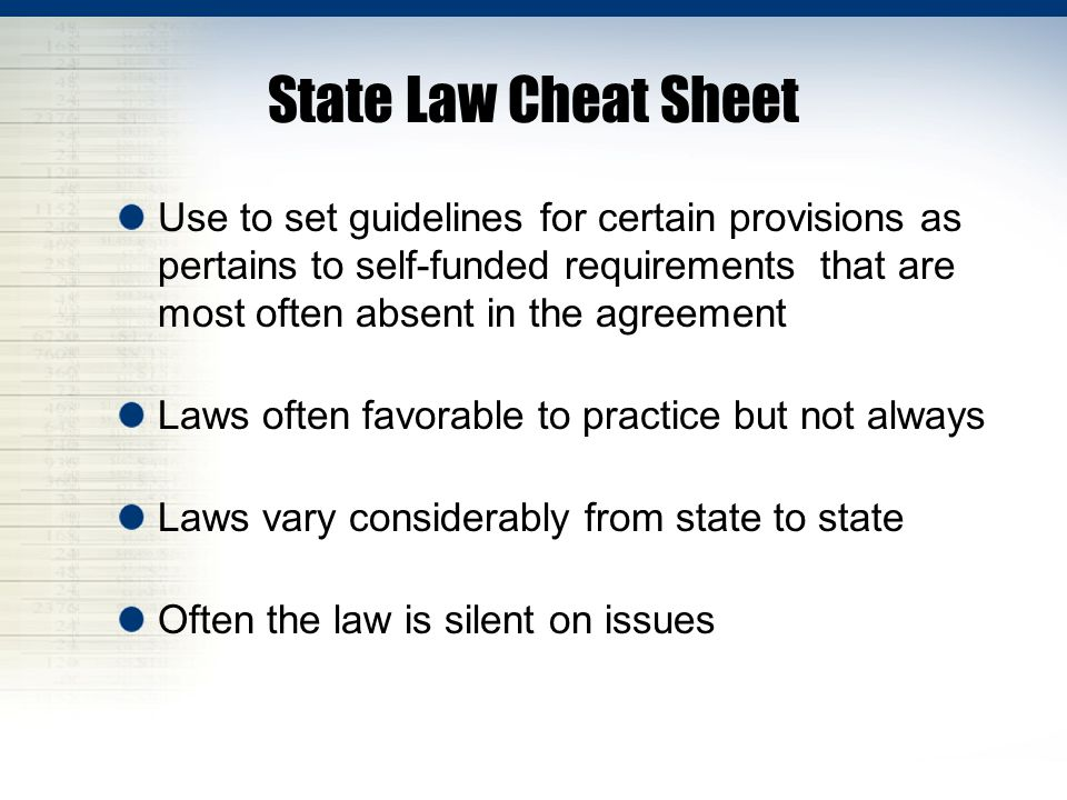 State Law Cheat Sheet