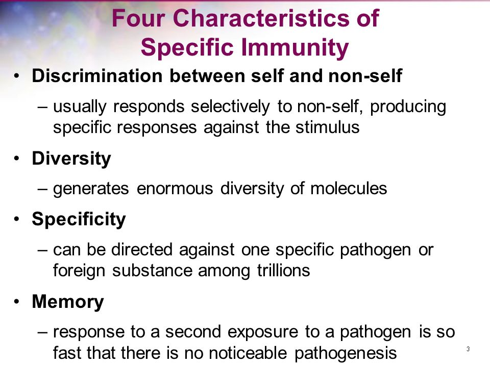 Four Characteristics of Specific Immunity