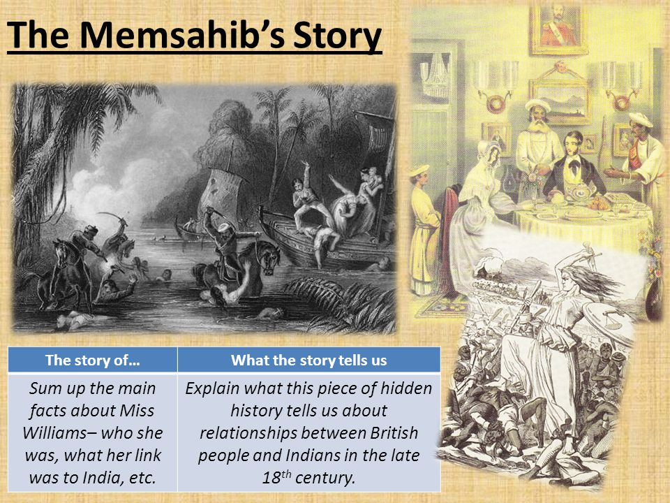 The Memsahib's Story The story of… What the story tells us.