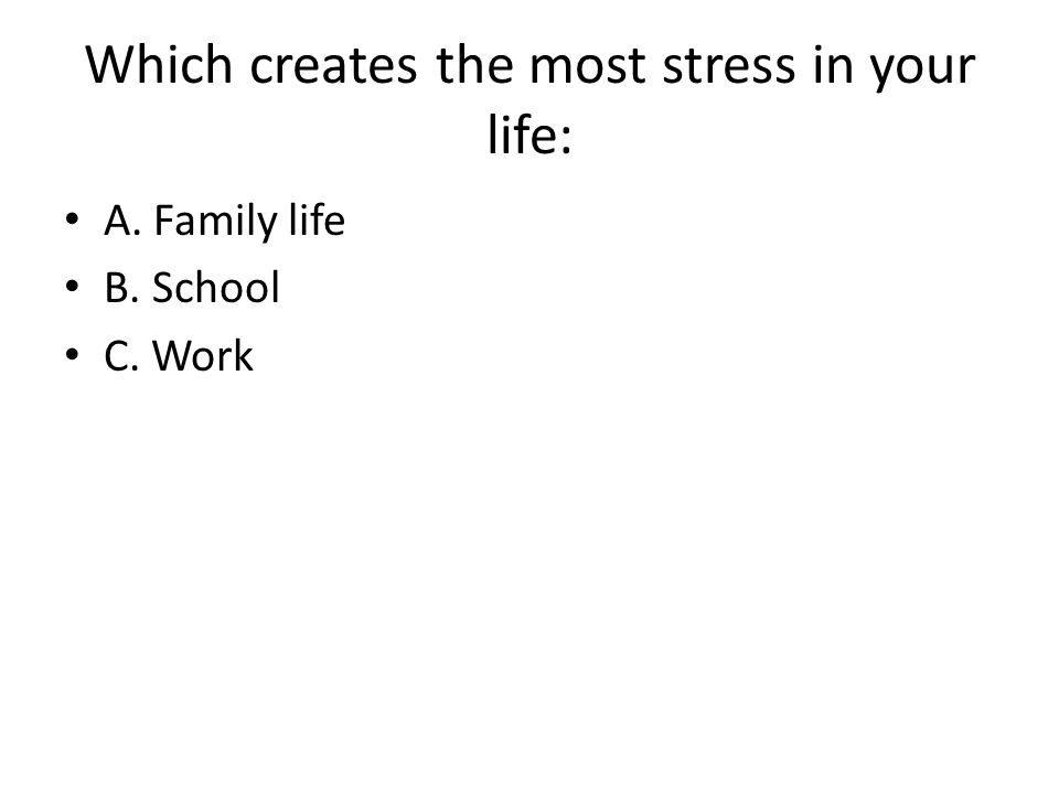 Which creates the most stress in your life: