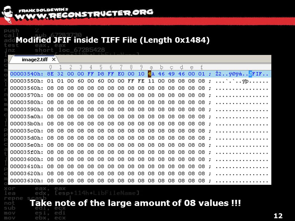 Modified JFIF inside TIFF File (Length 0x1484)