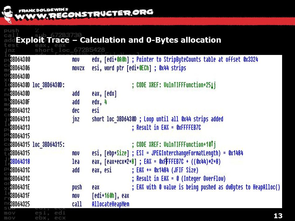 Exploit Trace – Calculation and 0-Bytes allocation