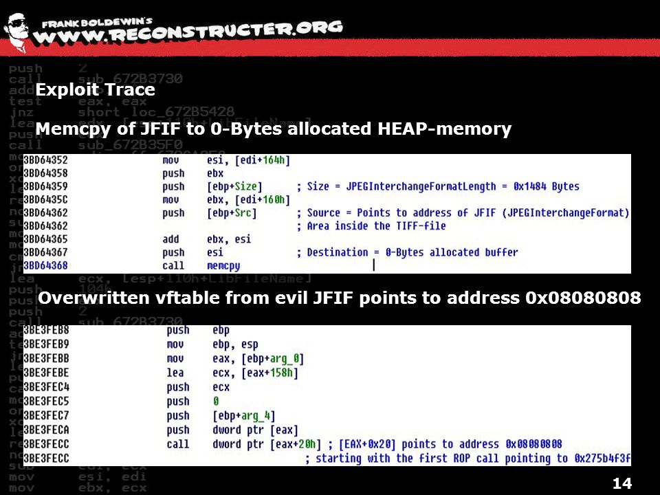 Exploit Trace Memcpy of JFIF to 0-Bytes allocated HEAP-memory