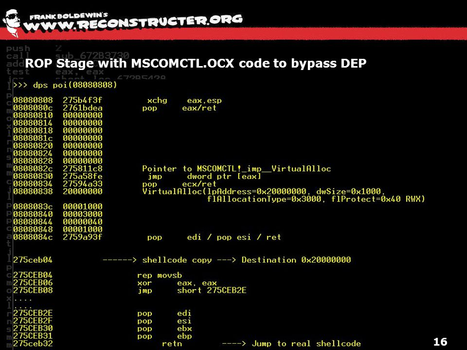 ROP Stage with MSCOMCTL.OCX code to bypass DEP