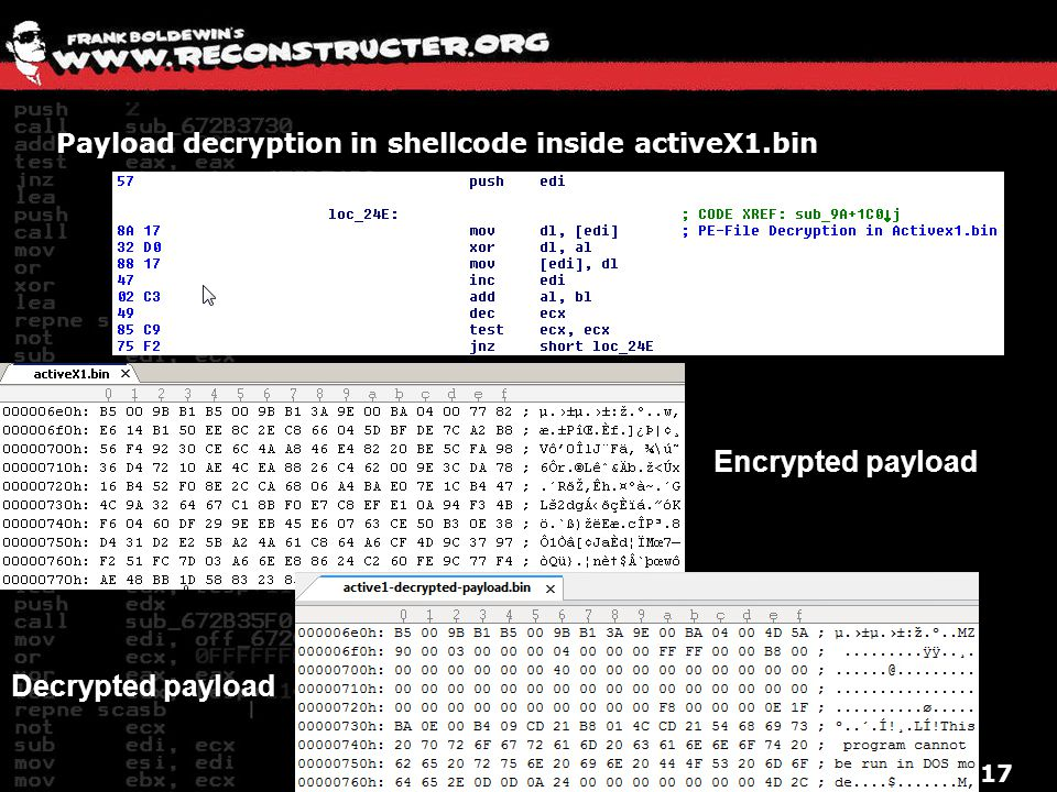 Payload decryption in shellcode inside activeX1.bin