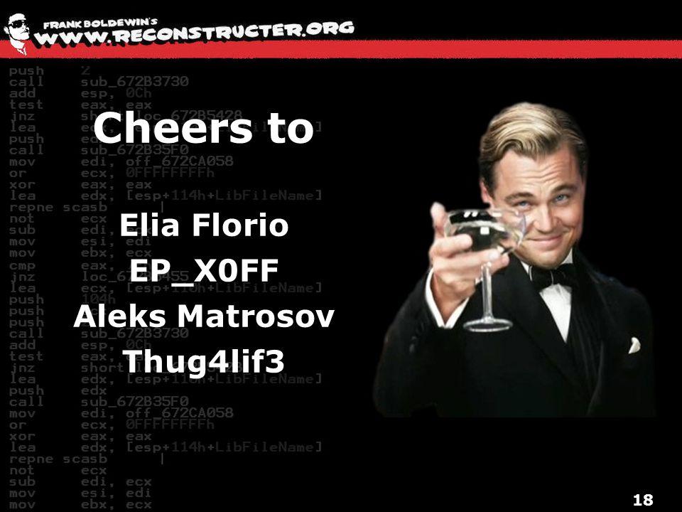 Cheers to Elia Florio EP_X0FF Aleks Matrosov Thug4lif3