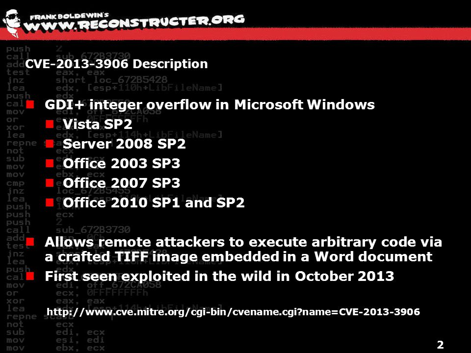 GDI+ integer overflow in Microsoft Windows Vista SP2 Server 2008 SP2