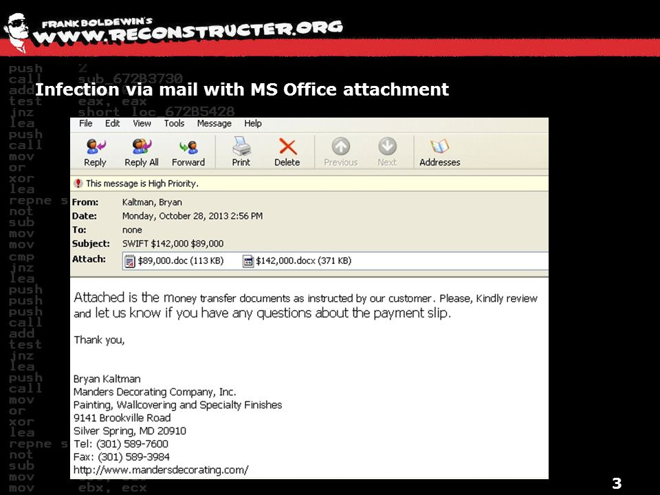Infection via mail with MS Office attachment