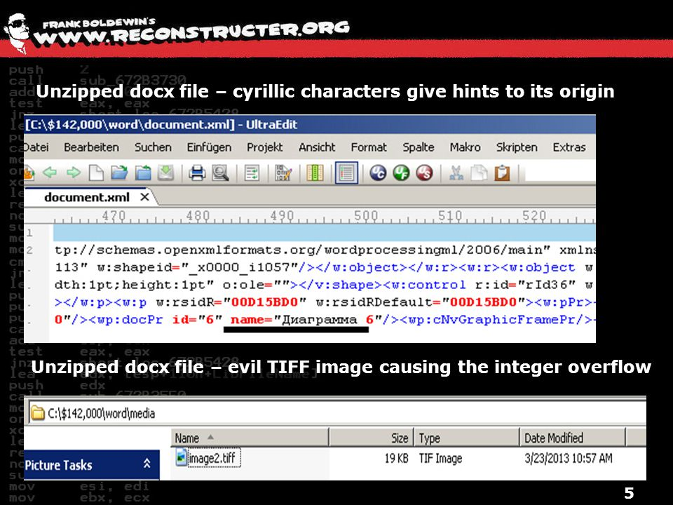 Unzipped docx file – cyrillic characters give hints to its origin
