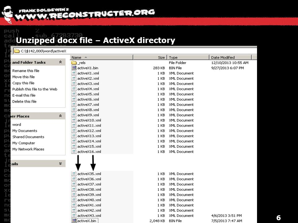 Unzipped docx file – ActiveX directory
