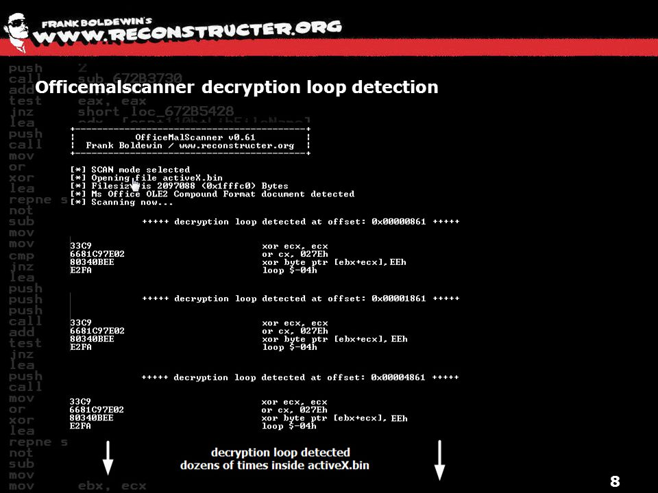 Officemalscanner decryption loop detection
