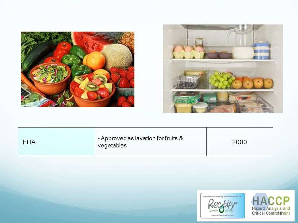 FDA - Approved as lavation for fruits & vegetables 2000 10