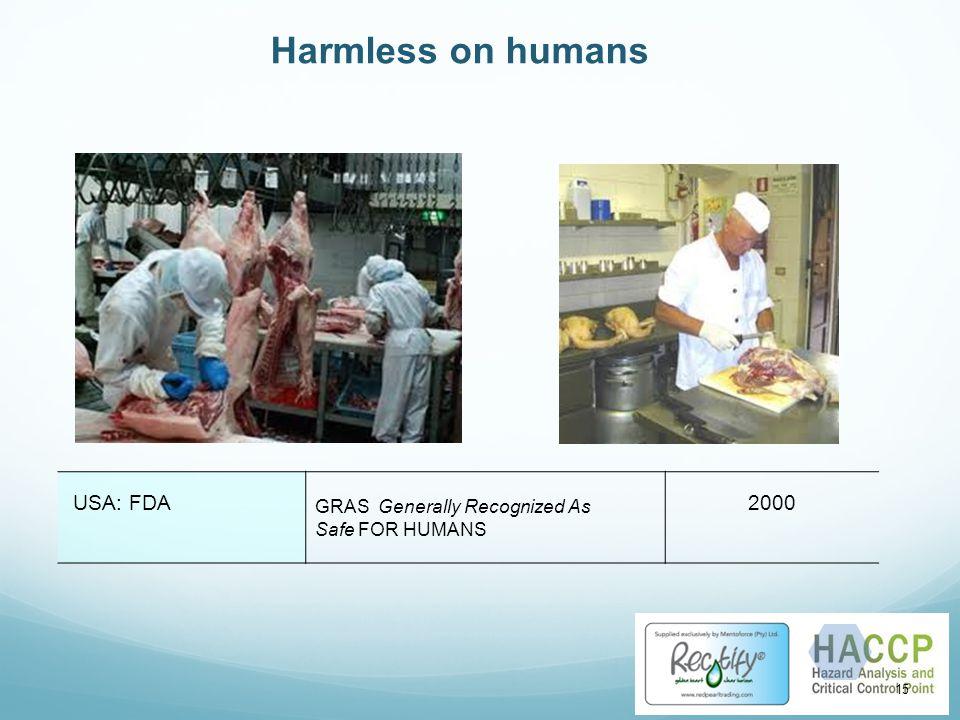 Harmless on humans USA: FDA 2000