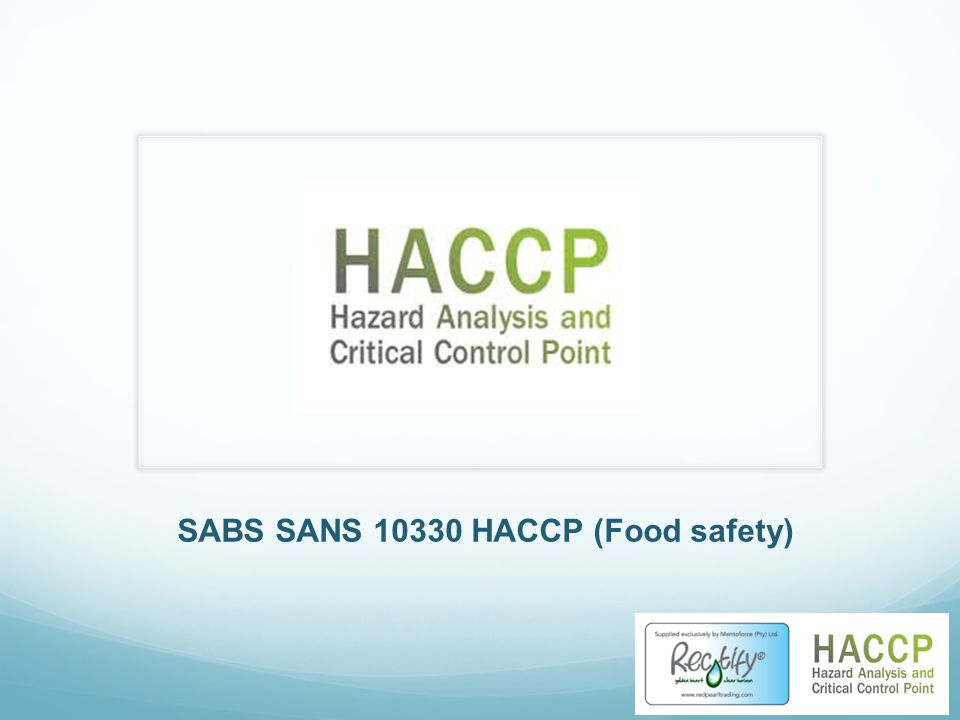 SABS SANS 10330 HACCP (Food safety)