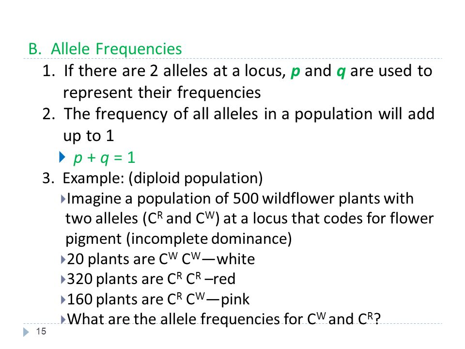2. The frequency of all alleles in a population will add up to 1
