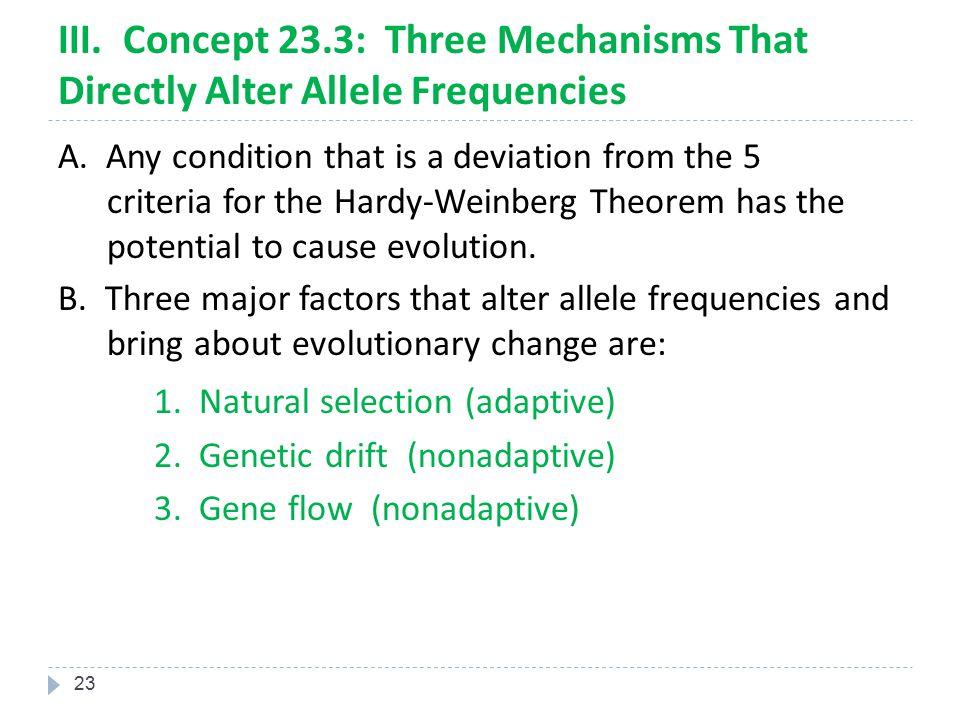 1. Natural selection (adaptive)