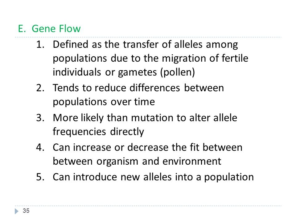 E. Gene Flow Defined as the transfer of alleles among populations due to the migration of fertile individuals or gametes (pollen)