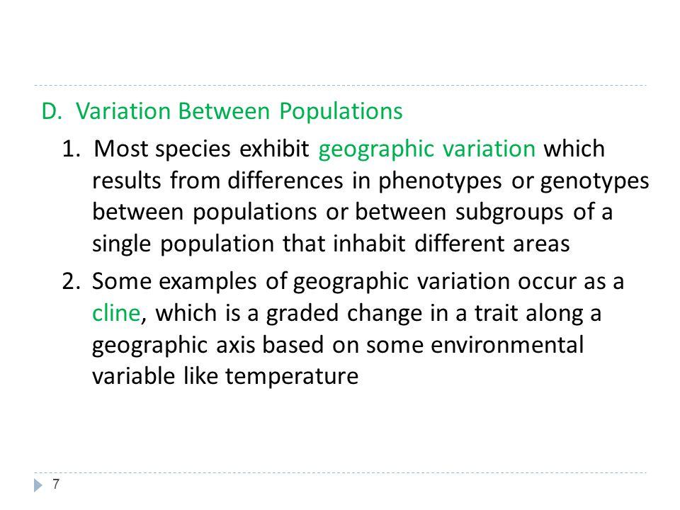 D. Variation Between Populations 1
