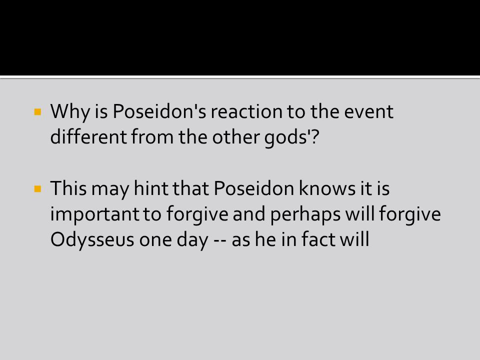 Why is Poseidon s reaction to the event different from the other gods