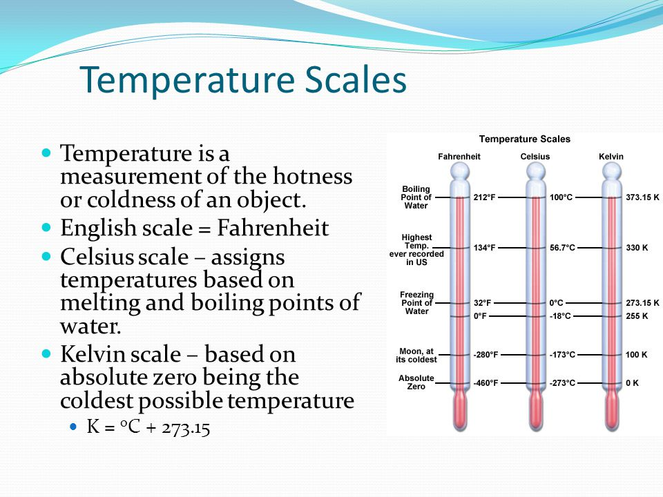 Temperature Scales Temperature is a measurement of the hotness or coldness of an object. English scale = Fahrenheit.