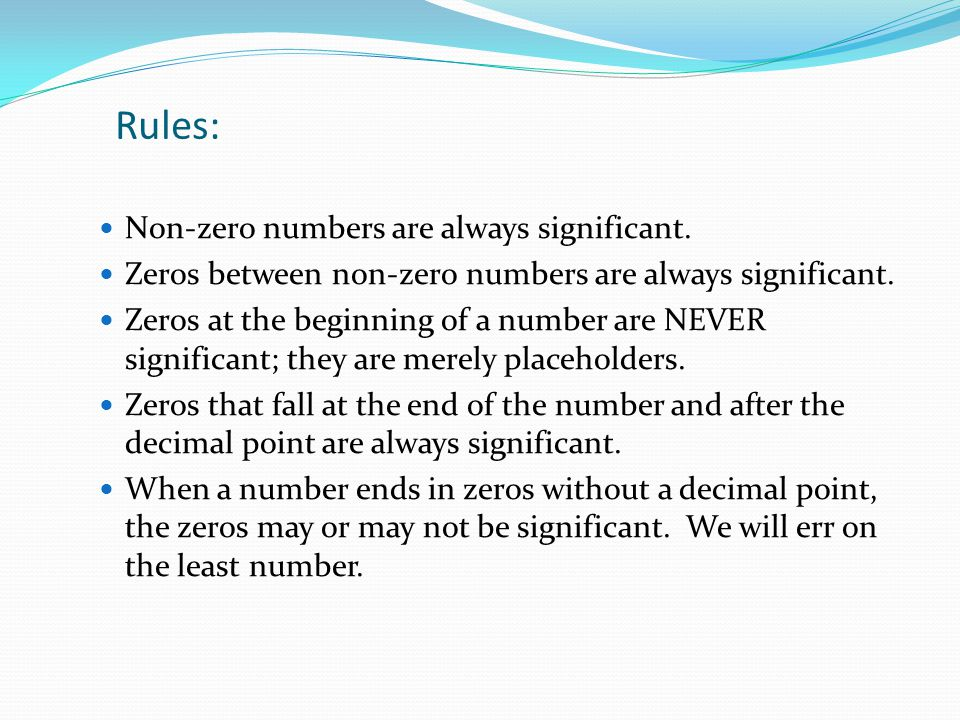Rules: Non-zero numbers are always significant.