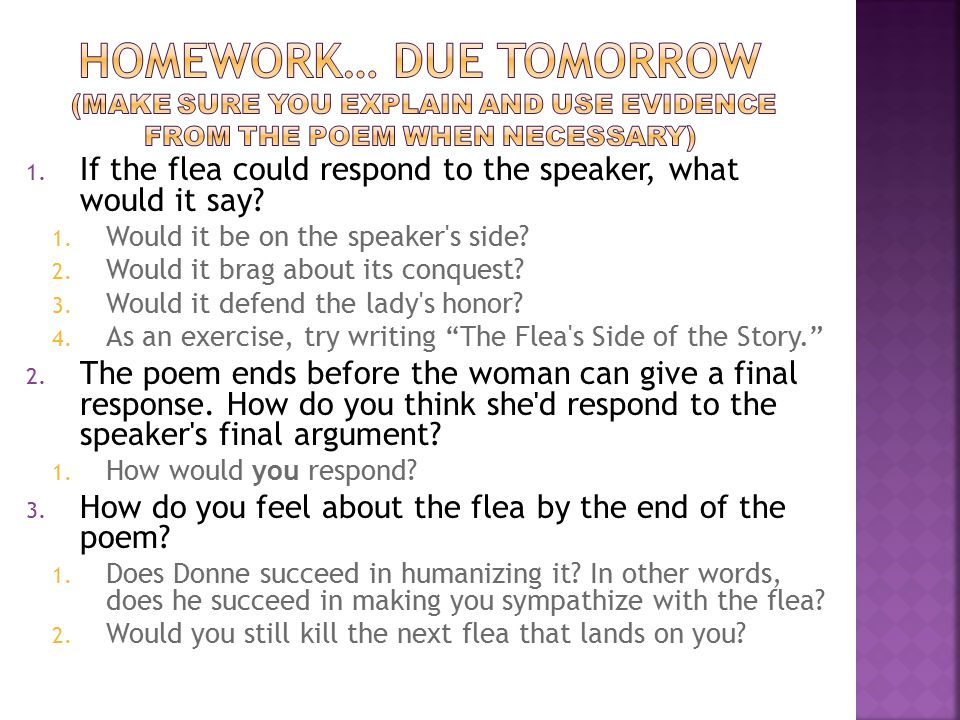 Homework… Due Tomorrow (Make sure you explain and use evidence from the poem when necessary)