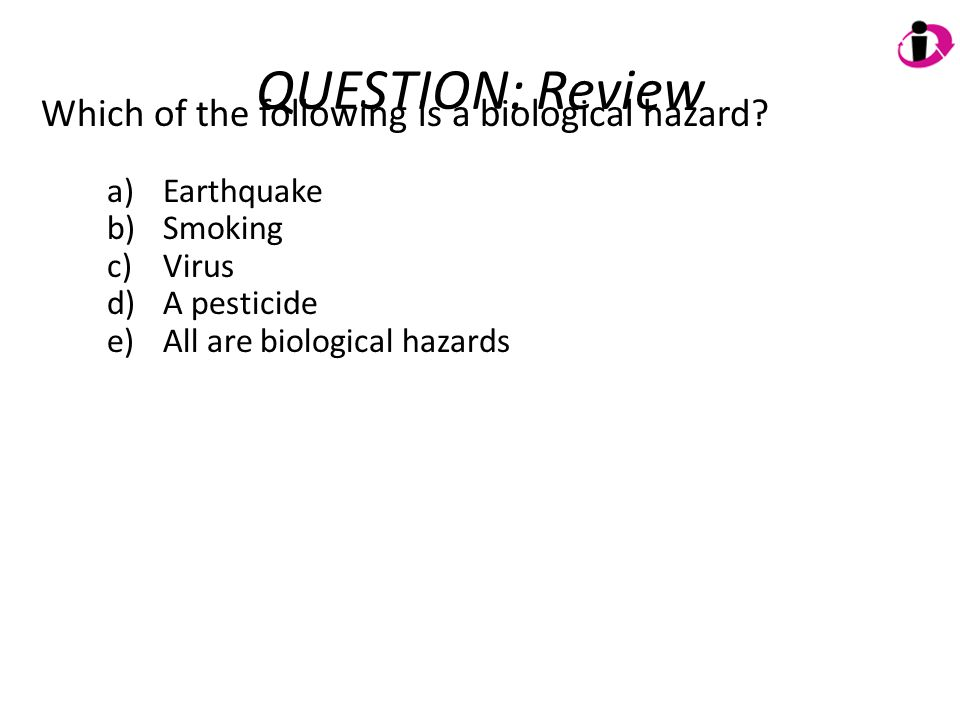 QUESTION: Review Which of the following is a biological hazard